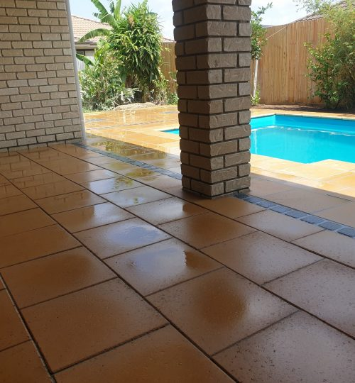 Recycling paving around swimming pool
