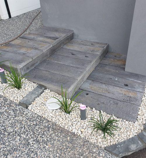 Custom-made timber look concrete steps