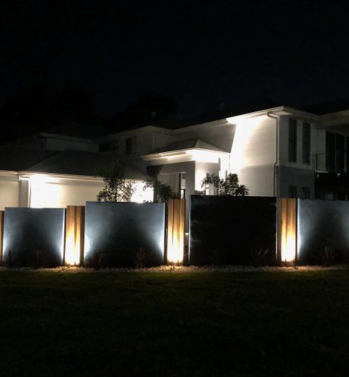 Custom-made fencing with installation of feature lighting