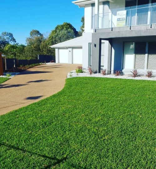 Lawn with automated watering system